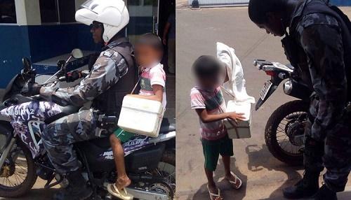 Criança pediu ajuda dos policiais (Foto: Leitor via WhatsApp O ESTADO / (98) 99209-2564)