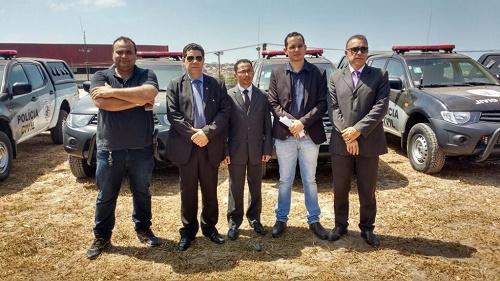 Gestores da SSP presentes durante a entrega das viaturas. Foto: Divulgação